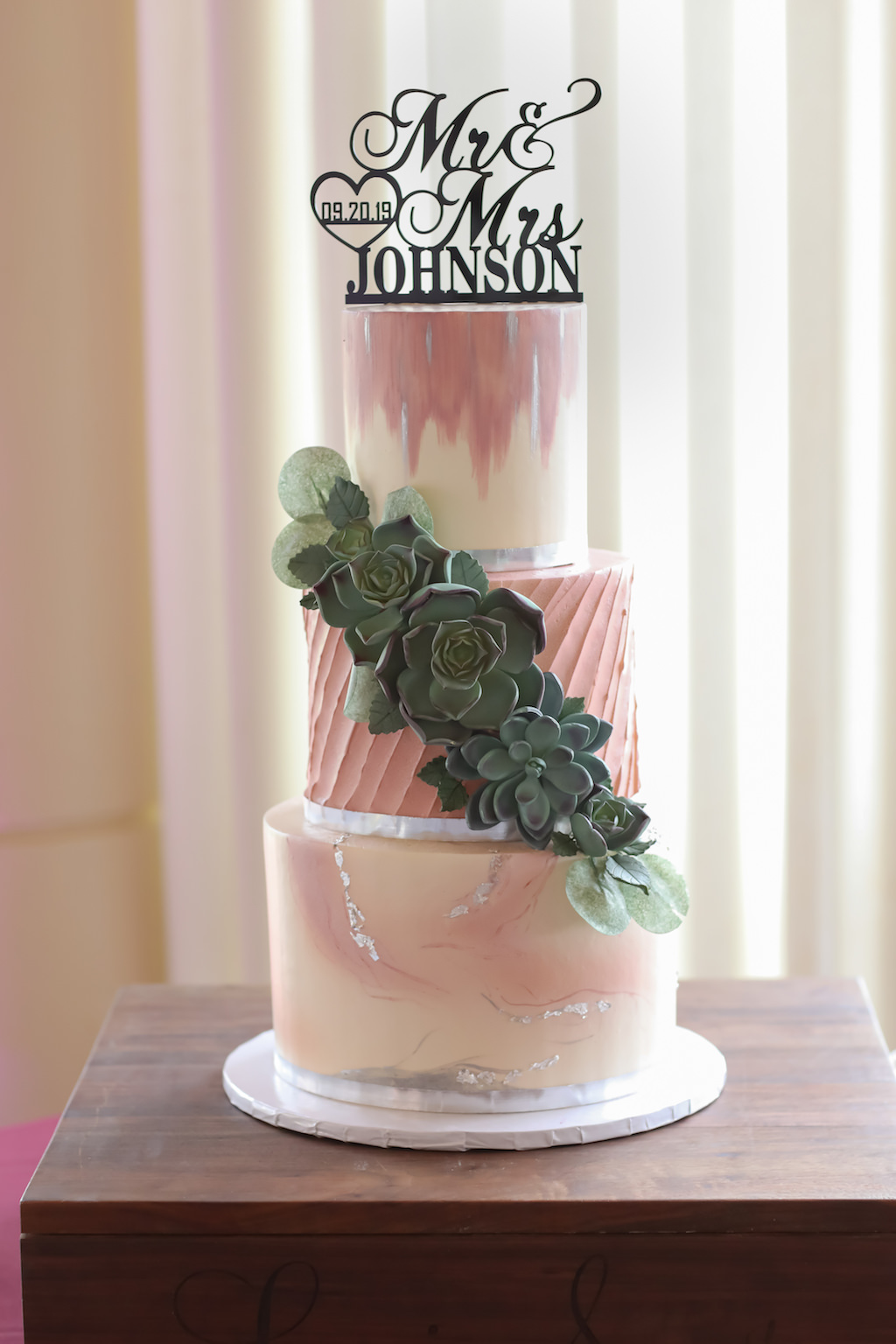 Three-Tiered Round Marble and Magenta Hand Painted Wedding Cake with Succulent Accent and Laser Cut Custom Wedding Cake Topper | Tampa Bay Wedding Bakery The Artistic Whisk | Tampa Wedding Photographer Lifelong Photography Studio