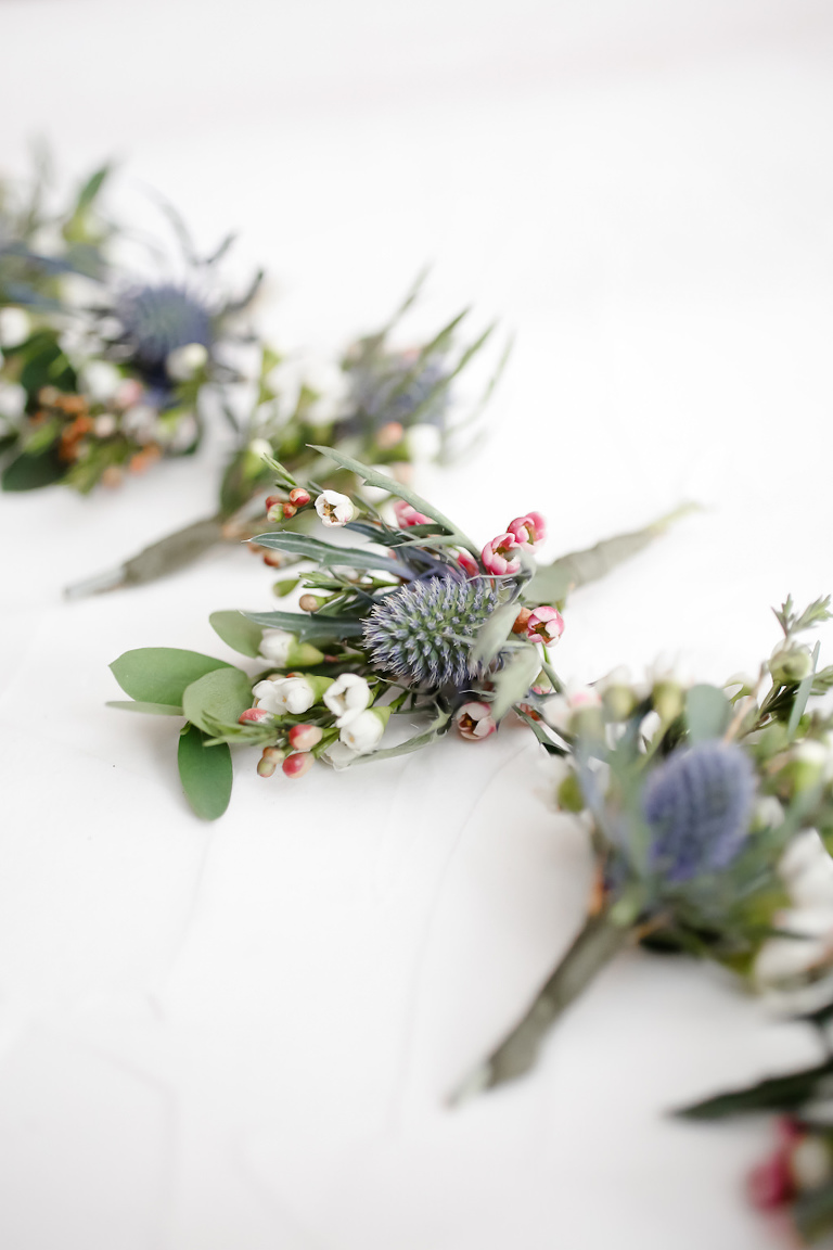 Unique Organic Boho Inspired Greenery and Blue Thistle Groom and Groomsmen Boutonnieres | Tampa Bay Wedding Photographer Lifelong Photography Studio | Wedding Planner Special Moments Event Planning
