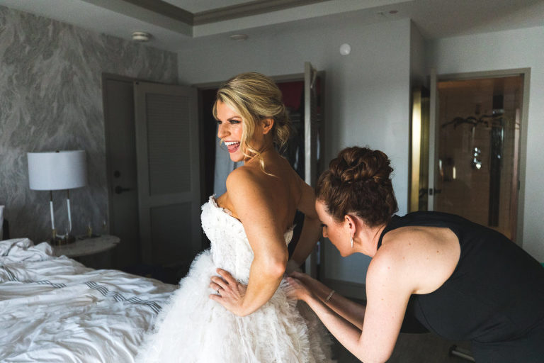 Elegant Modern Tampa Bay Bride Getting Ready Wedding Portrait | Wedding Dress Shop Isabel O'Neil Bridal Collection