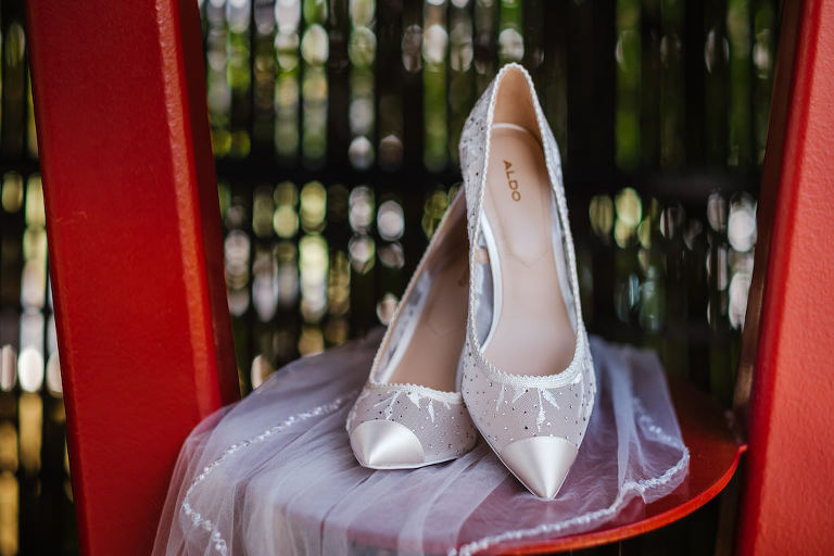 Modern Pointed Toe Bridal Shoes, Aldo High Heels with Mesh and Rhinestone Details