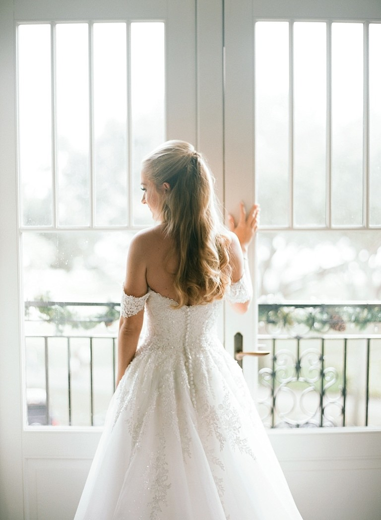 Elegant Tampa Bride Wedding Portrait in Ballgown Off the Shoulder Floral Lace, Rhinestone and Tulle Wedding Dress