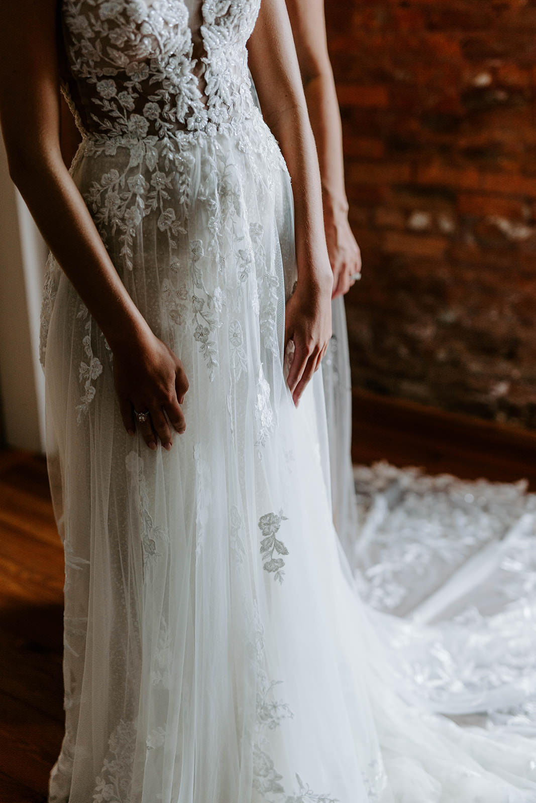 Tampa Bay Bride Getting Ready Portrait in Boho Whimsical Lace and Tulle A-Line Martina Liana Wedding Dress
