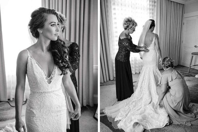 Florida Bride Getting Ready Photo, Wearing Romantic Hayley Paige Wedding Dress, Fit and Flare with Spaghetti Strap and Deep V Neckline, Lace Overlay | The Don CeSar Hotel in St. Pete Beach
