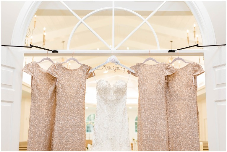 Tampa Vintage Glam Wedding Champagne Blush Rose Gold Sequin Bridesmaid Dresses Embroidered Sweetheart Wedding Gown Bride Hanger Stella York