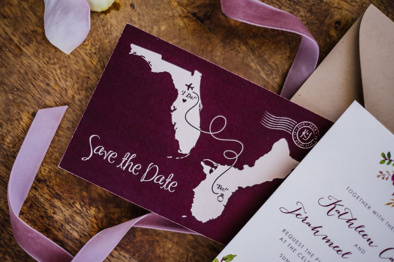 Unique Custom Purple State to State Illustrated Save the Date Wedding Invitation