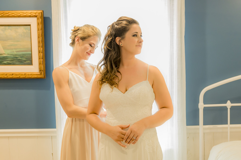Florida Bride Getting Ready in Boho Chic Stella York Lace with Straps Wedding Dress | Tampa Bay Wedding Hair and Makeup LDM Beauty Group