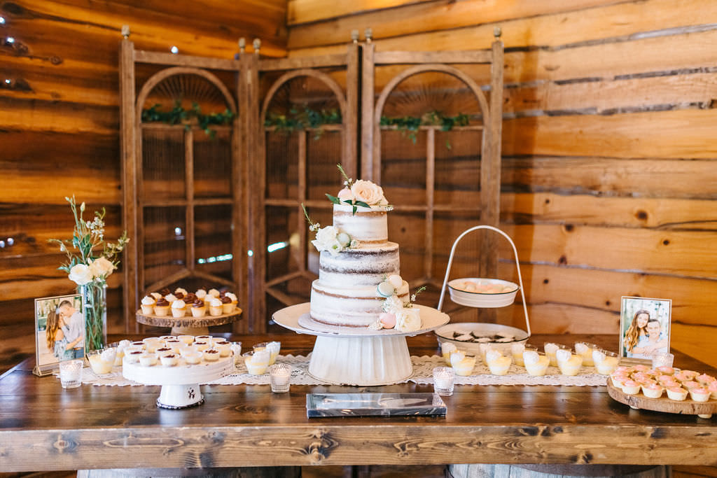 Rustic Inspired Dessert Table With Three Tier Semi Frosted Naked