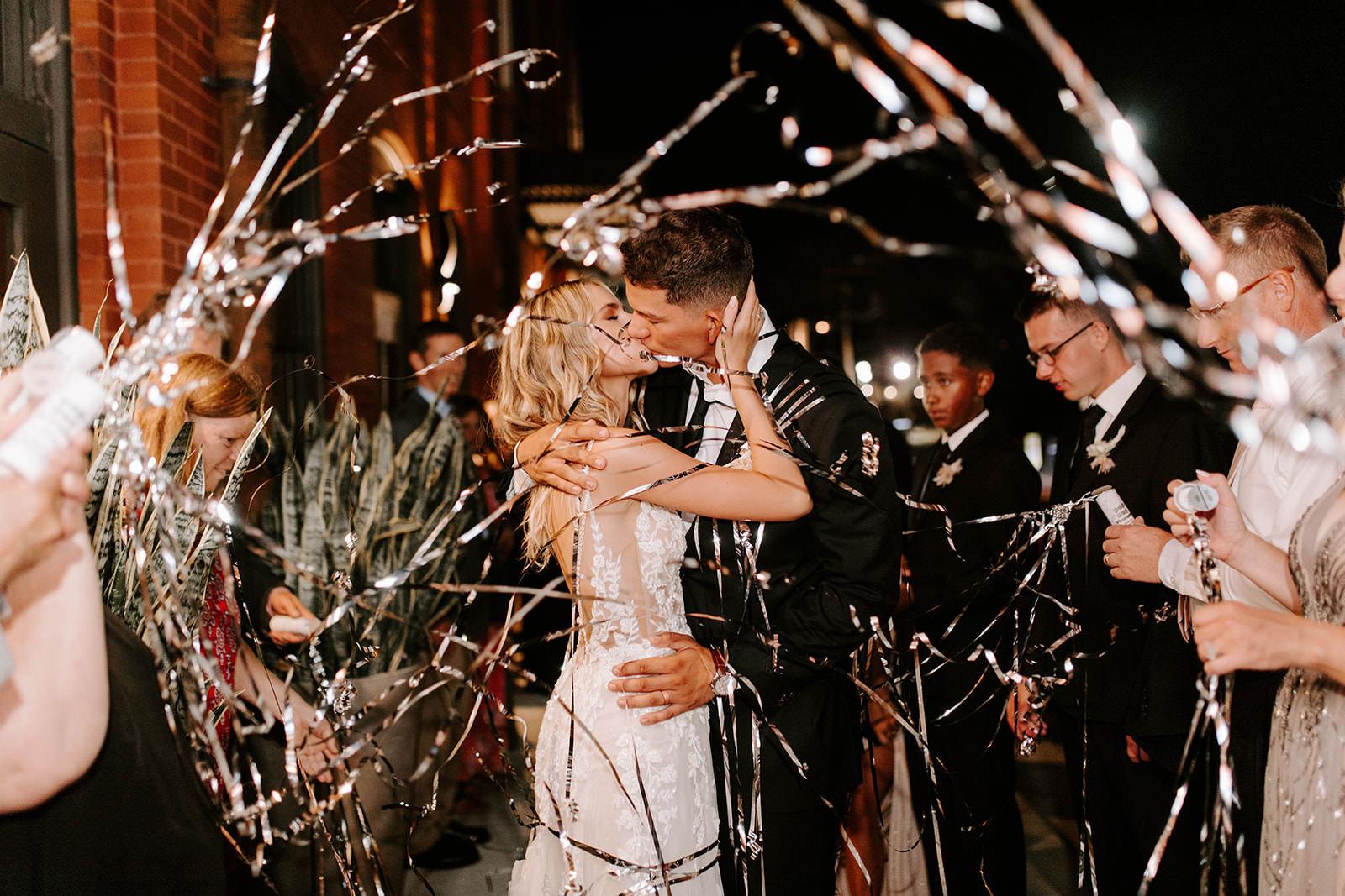 INSTAGRAM Boho Whimsical Creative Fun Bride and Groom Confetti Silver Tinsel Wedding Reception Exit Portrait
