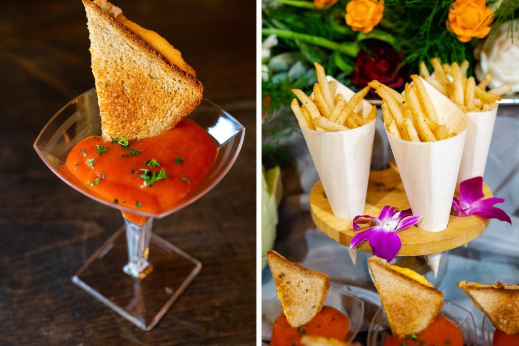 Tomato Bisque Shooter Topped with Mini Grilled Cheese | Hand Cut Garlic Parmesan French Fries served in a Bamboo Cone | Wedding Menu Appetizers | Best Tampa Bay Wedding Caterer Amici's Catered Cuisine | Grind & Press Photography