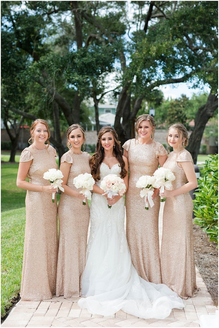 Tampa Vintage Glam Wedding Champagne Blush Rose Gold Sequin Bridesmaid Dresses White Ivory Bouquets Embroidered Sweetheart Wedding Gown Bride Hanger Stella York