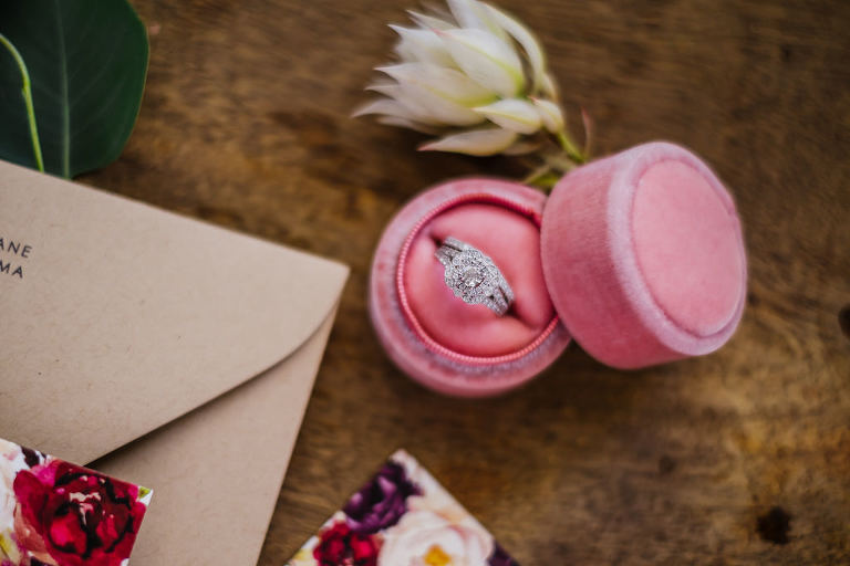 Round Solitaire with Diamond Halo Bride Engagement Ring in Pink Velvet Ring Box