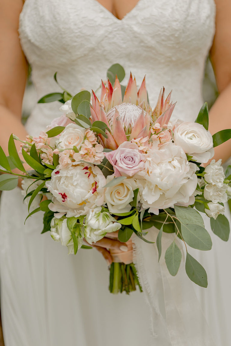 Garden Inspired Bridal Floral Bouquet, King Protea, Pink and Ivory Roses, Eucalyptus Leaves
