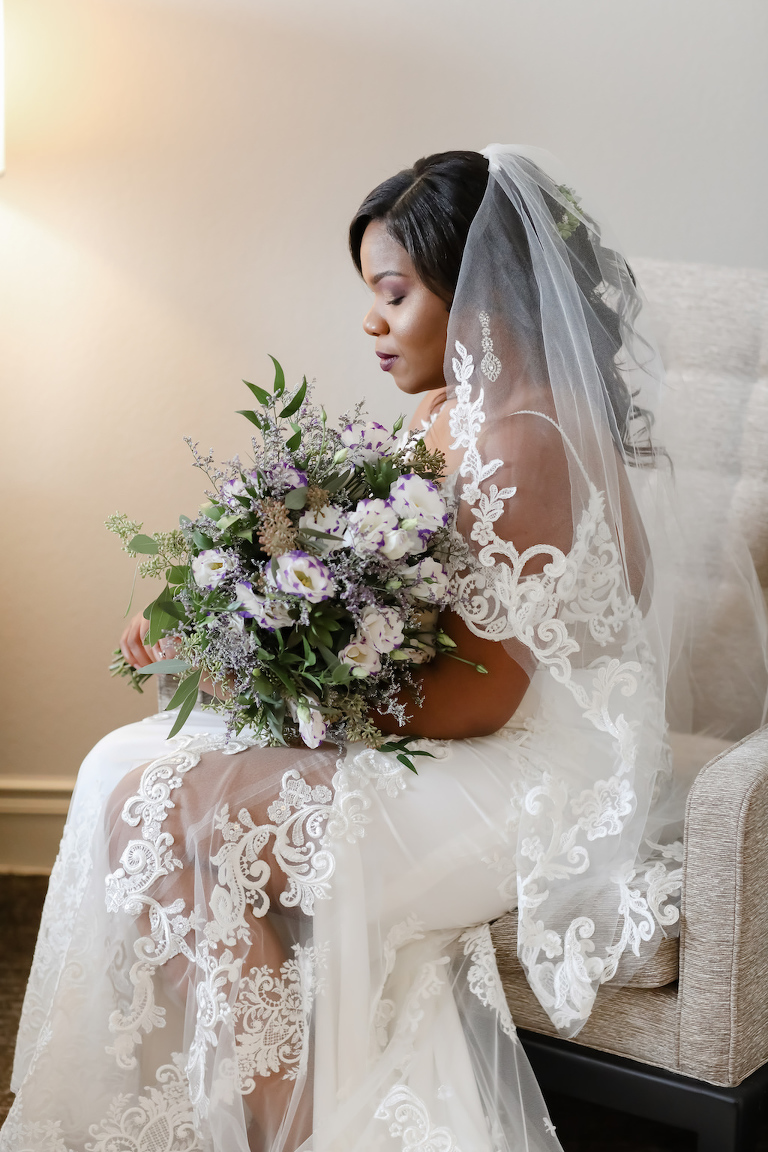 Rustic Chic Bride Beauty Wedding Portrait in Lace Off the Shoulder Wedding Dress with Elegant Lace Lined Veil, Organic Garden Purple, Lilac and White with Greenery Floral Bridal Bouquet | Tampa Wedding Photographer Lifelong Photography Studio | Wedding Hair and Makeup Michele Renee the Studio | Wedding Dress Boutique Truly Forever Bridal