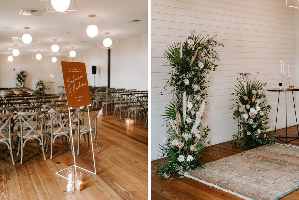 Boho Whimsical Wedding Ceremony Decor, Wooden Crossback Chairs, Custome Welcome Sign, Palm Tree Leaves, White Feathers, Blush Pink Roses Unique Altar Floral Arrangements   Tampa Bay Wedding Planner Coastal Coordinating   Industrial Wedding Venue Armature Works