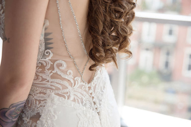 Elegant Illusion and Lace Low Open Back with Rhinestone Lining Wedding Dress | Tampa Bay Wedding Photographer Kristen Marie Photography | Wedding Attire Nikki's Glitz and Glam Boutique