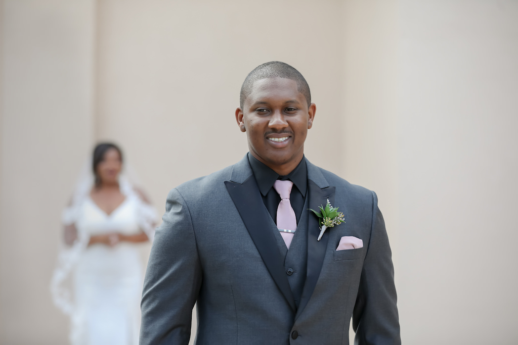 Elegant Groom Waiting for Bride First Look Wedding Portrait in Gray and Black Suit with Mauve Tie and Succulent Boutonniere | Tampa Wedding Photographer Lifelong Photography Studio