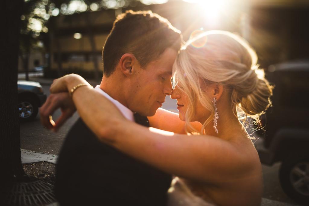 Romantic Modern Tampa Bay Bride and Groom Sunset Wedding Portrait