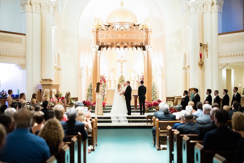 Traditional Church Winter Wedding Ceremony Bride and Groom Exchanging Vows | Wedding Tampa Venue St. Mary Our Lady of Grace Catholic Church