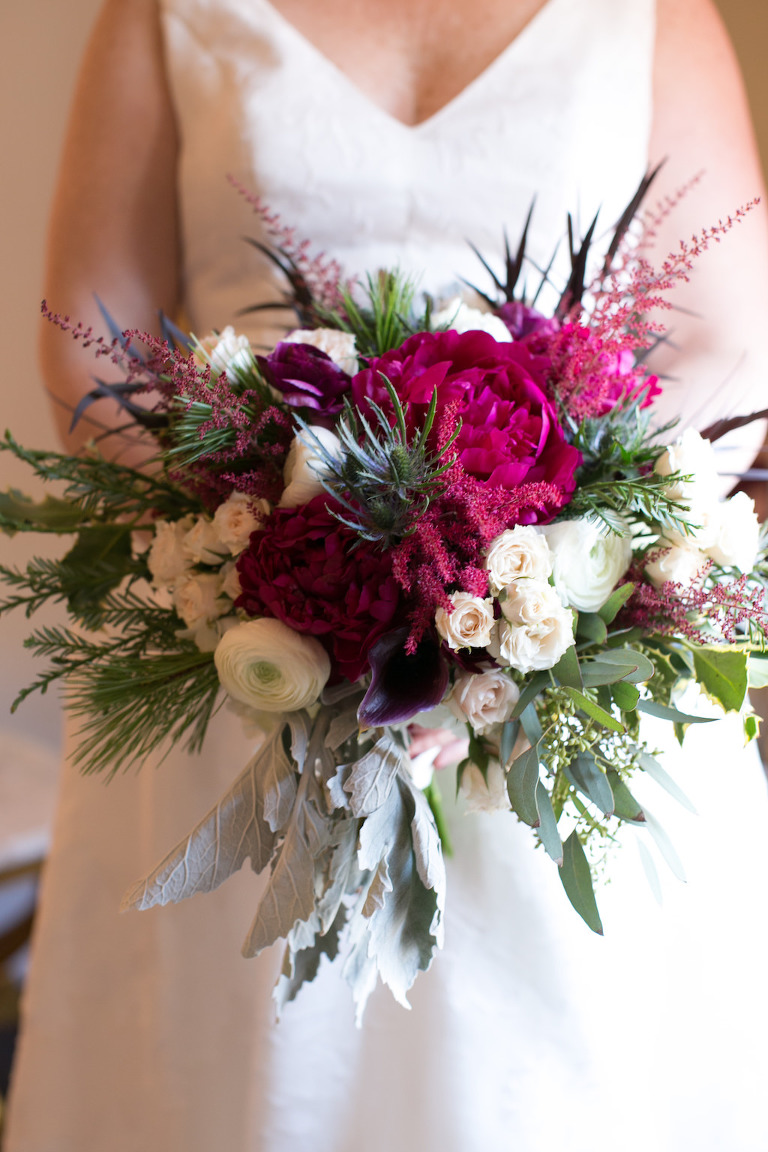 Elegant Whimsical Burgundy, White Roses, Pink Accents, Greenery and Dusty Miller Floral Bridal Bouquet   Tampa Bay Wedding Photographer Carrie Wildes Photography