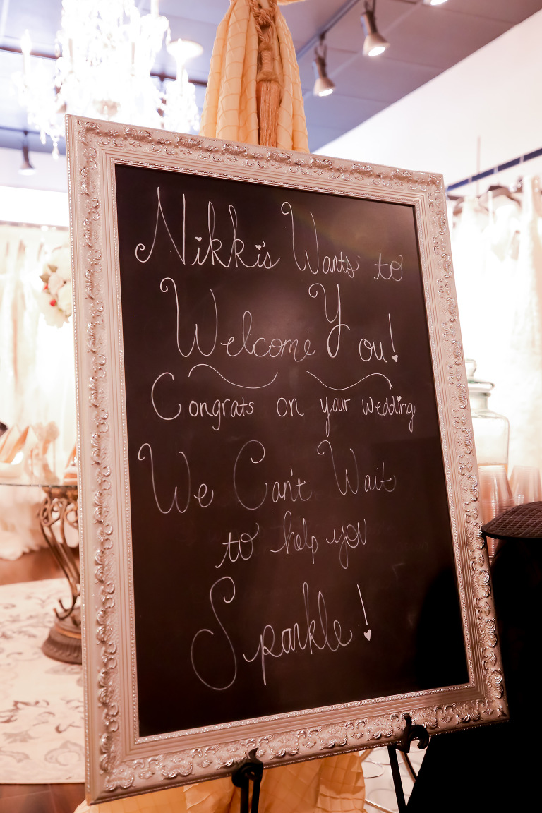 Nikki's Glitz and Glam Bridal Boutique | Palm Harbor Wedding Dress Store Chalkboard Welcome Sign