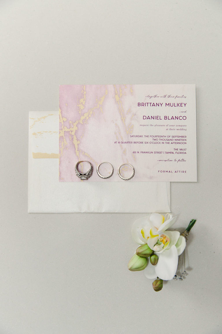 Modern Pink and Gold Foil Marble Wedding Invitation with Wedding Rings
