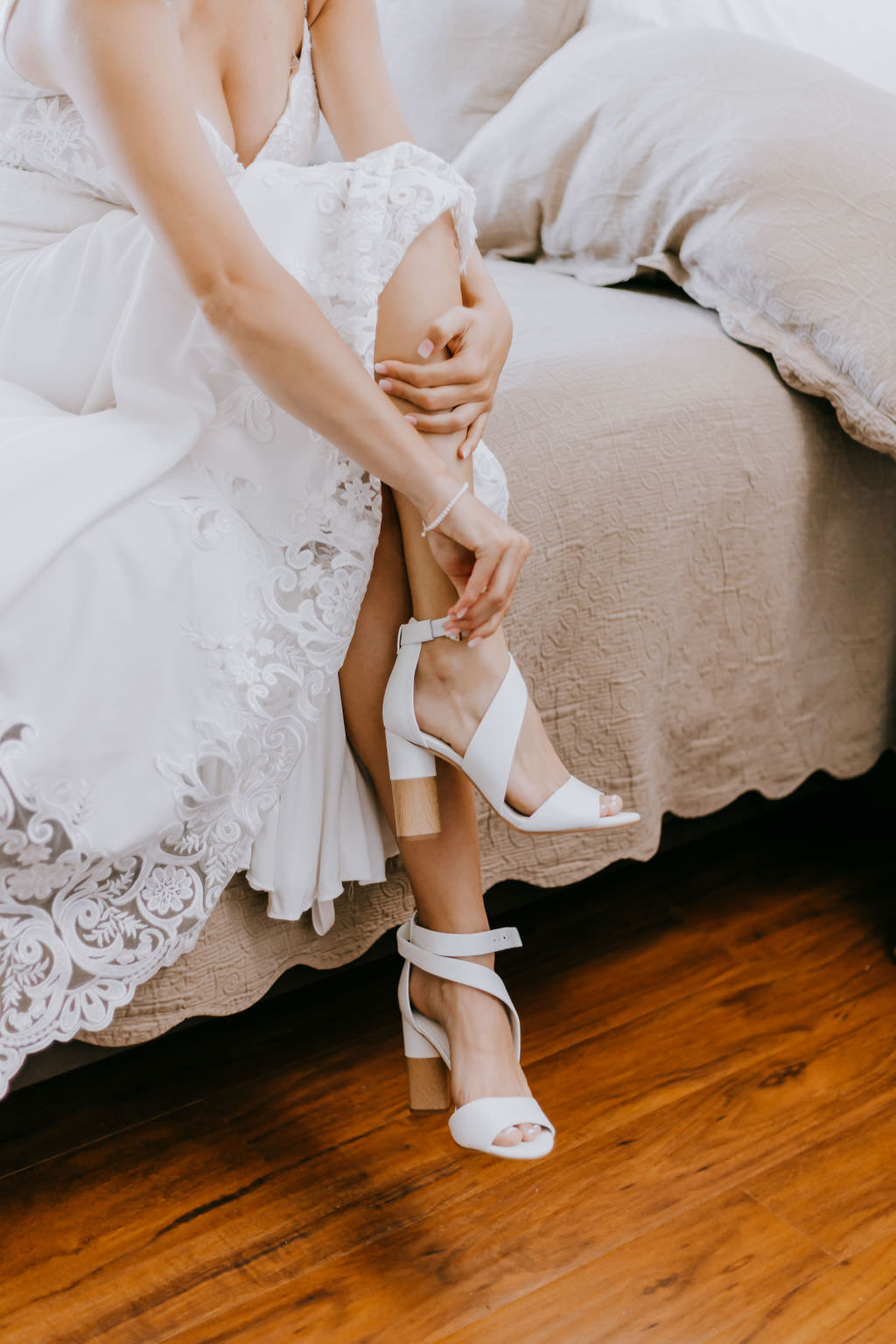 Tampa Bay Bride Getting Ready Wedding Portrait in Strappy Two Block Heel White Shoes