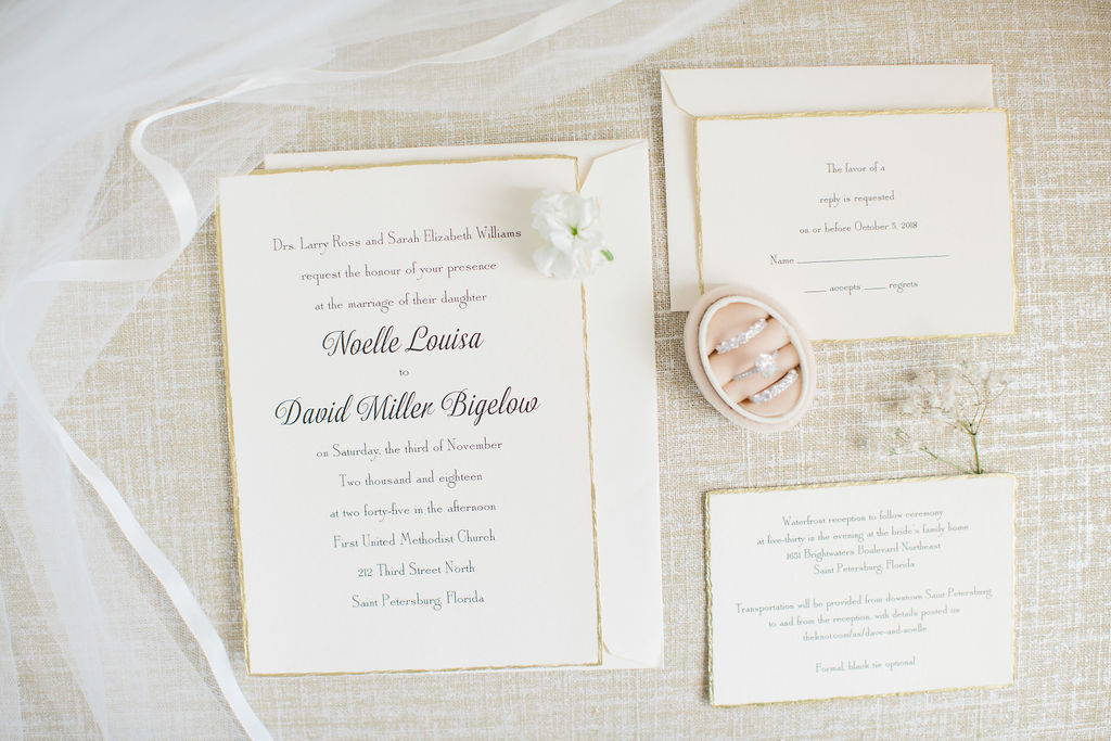 Classic Elegant White and Gold Foil Trim Wedding Invitation Suite, Engagement Ring and Bride Wedding Bands in Blush Pink Velvet Ring Box