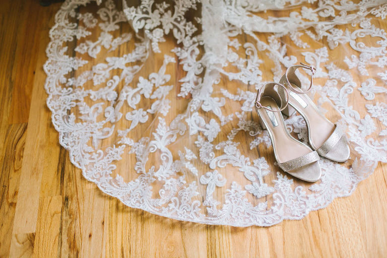 Elegant and Delicate Lace Wedding Dress Train, Champagne Strappy Sandal Wedding Heel Shoes | Tampa Bay Wedding Photographer Kera Photography | Wedding Dress Truly Forever Bridal