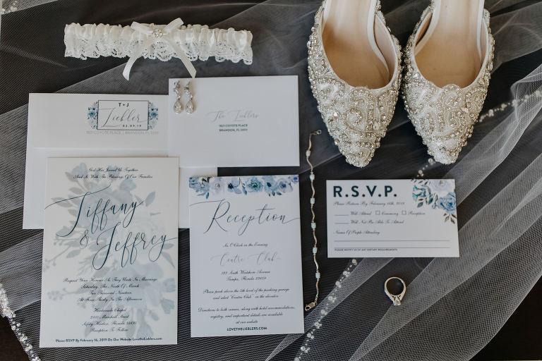 Classic Elegant Floral Powder Blue and White Wedding Invitation Suite, Lace Ivory Garter, Pointed Toe Rhinestone Embellished Ivory Wedding Shoes