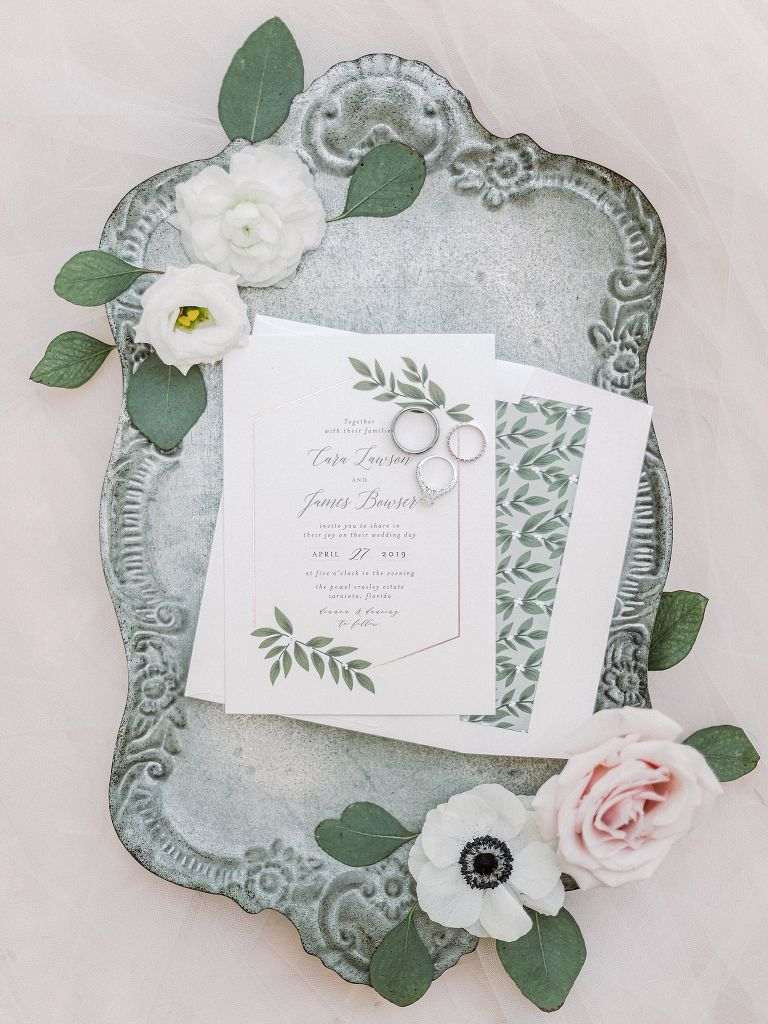 Romantic Elegant White with Green Leaves Wedding Invitation Suite on Antique Tray