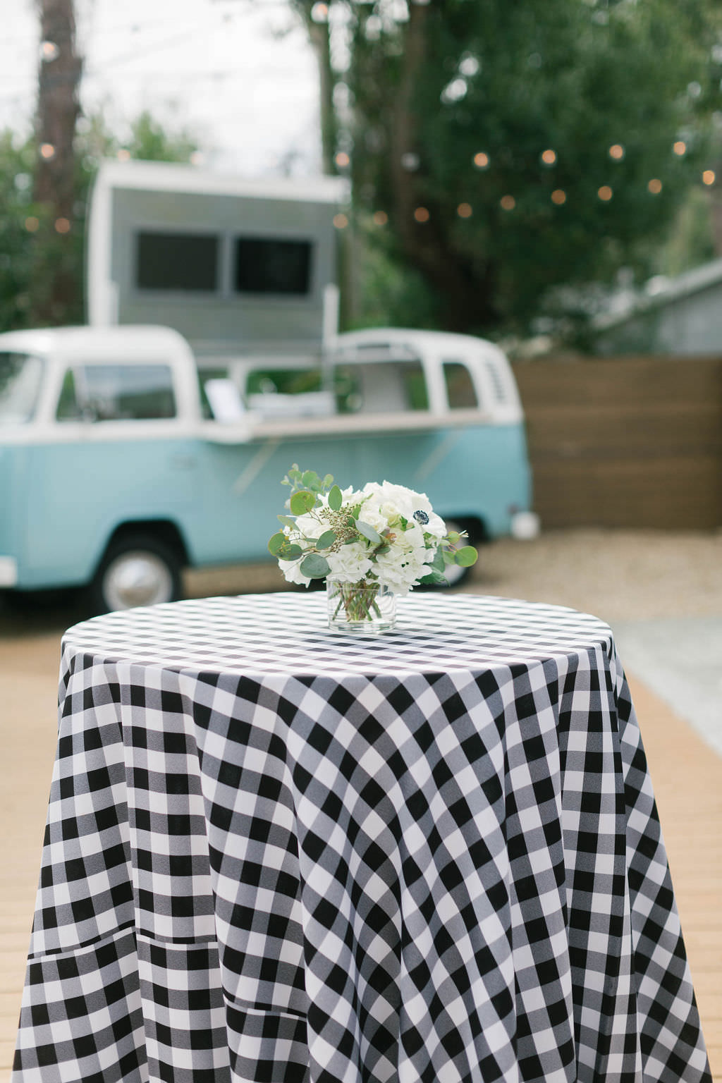 Magnolia Market Southern Inspired Tampa Bridal Shower | Joanna Gaines Inspired Bridal Shower | Buffalo Plaid Table Linens Over the Top Rental Linens | Tastes of Tampa Bay Food Truck