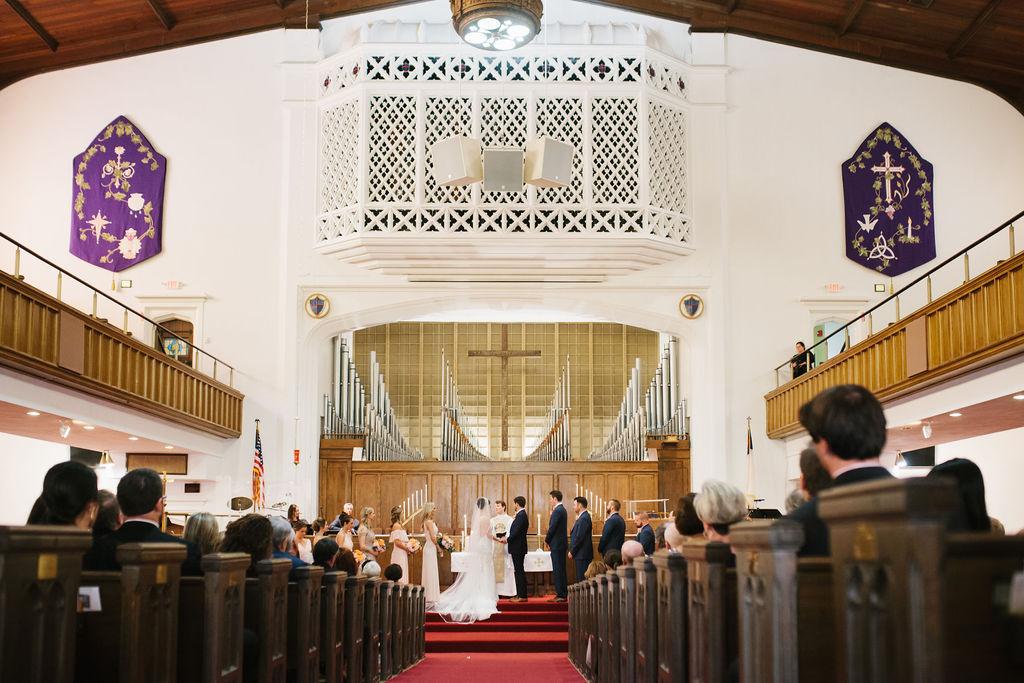 Traditional Church Bride and Groom Wedding Ceremony Portrait | St. Petersburg Wedding Venue First United Methodist Church