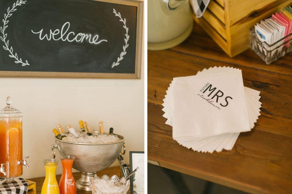 Brunch Bridal Shower Mimosa Bar and Custom Mrs Napkins