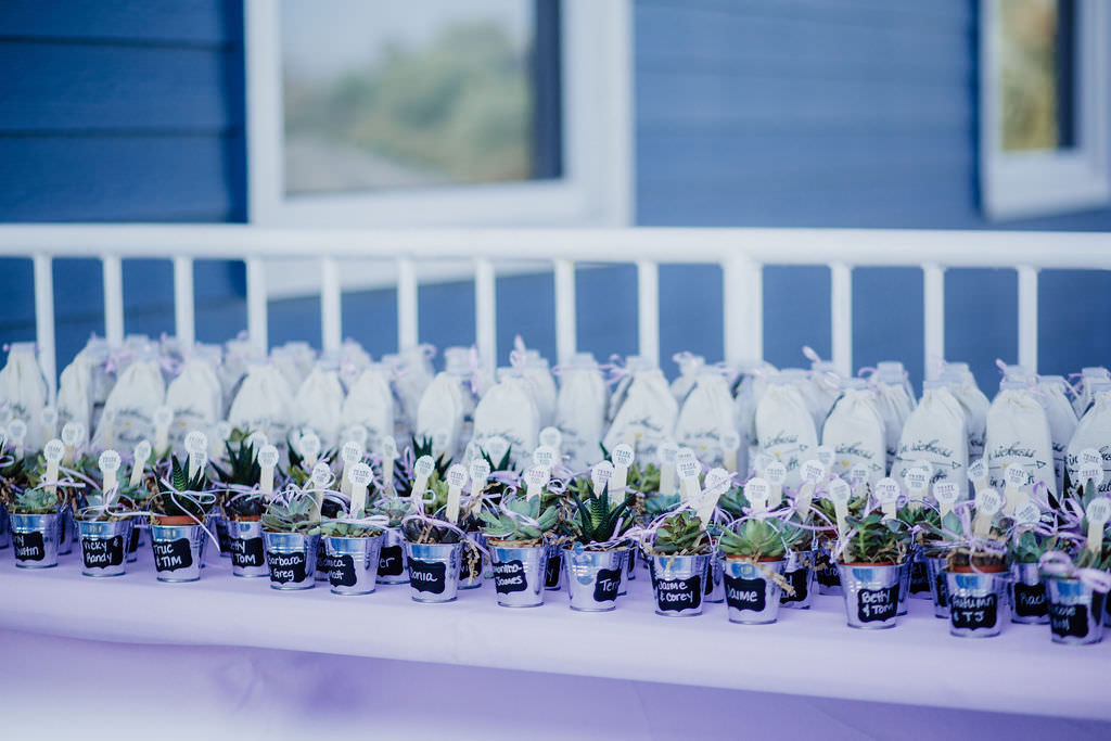Spring Wedding Reception Decor, Welcome Table with Lavender Linen, Flower Pails with Succulents Wedding Favors and Seating Cards | Unique Wedding Seating Arrangement Ideas