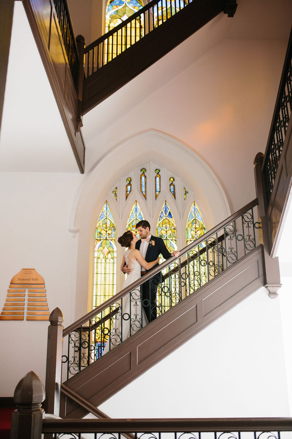 Traditional Church Bride and Groom on Staircase Wedding Portrait | St. Petersburg Wedding Venue First United Methodist Church