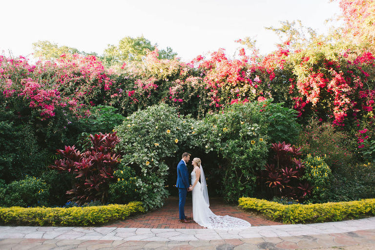 Romantic Lush and Colorful Gardens, Bride and Groom Wedding Portrait | Tampa Bay Wedding Photographer Kera Photography | St. Petersburg Wedding Ceremony Venue Sunken Gardens