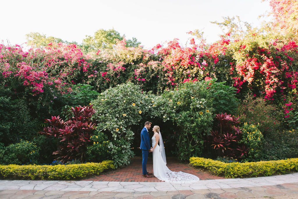 Romantic Lush and Colorful Gardens, Bride and Groom Wedding Portrait | Tampa Bay Wedding Photographer Kera Photography | St. Petersburg Wedding Ceremony Venue Sunken Gardens