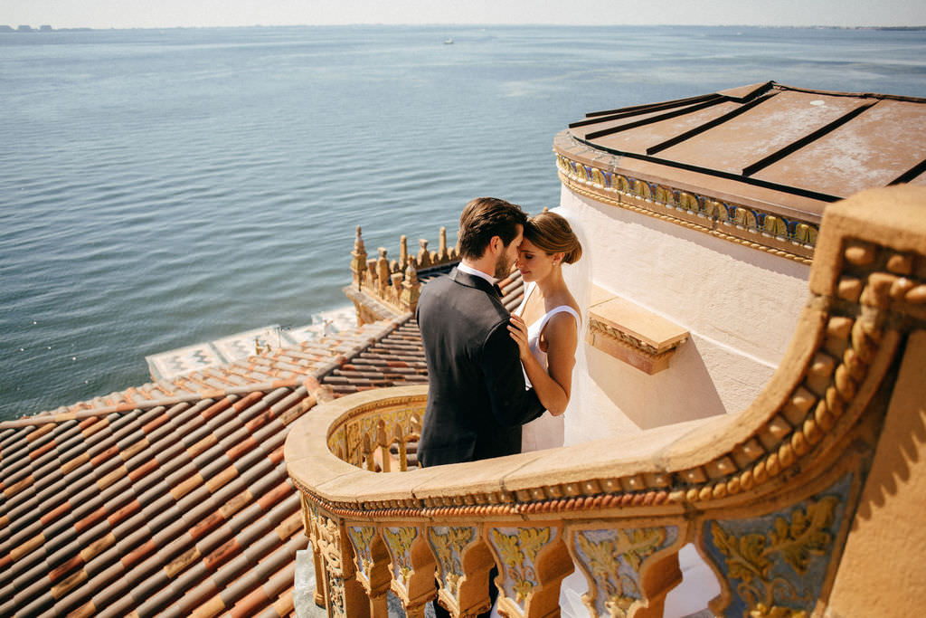 INSTAGRAM Classic Bride and Groom on Majestic Outdoor Staircase at Waterfront Sarasota Wedding Venue Ca d'Zan at The Ringling Museum   Tampa Bay Wedding Hair and Makeup Femme Akoi Beauty Studio