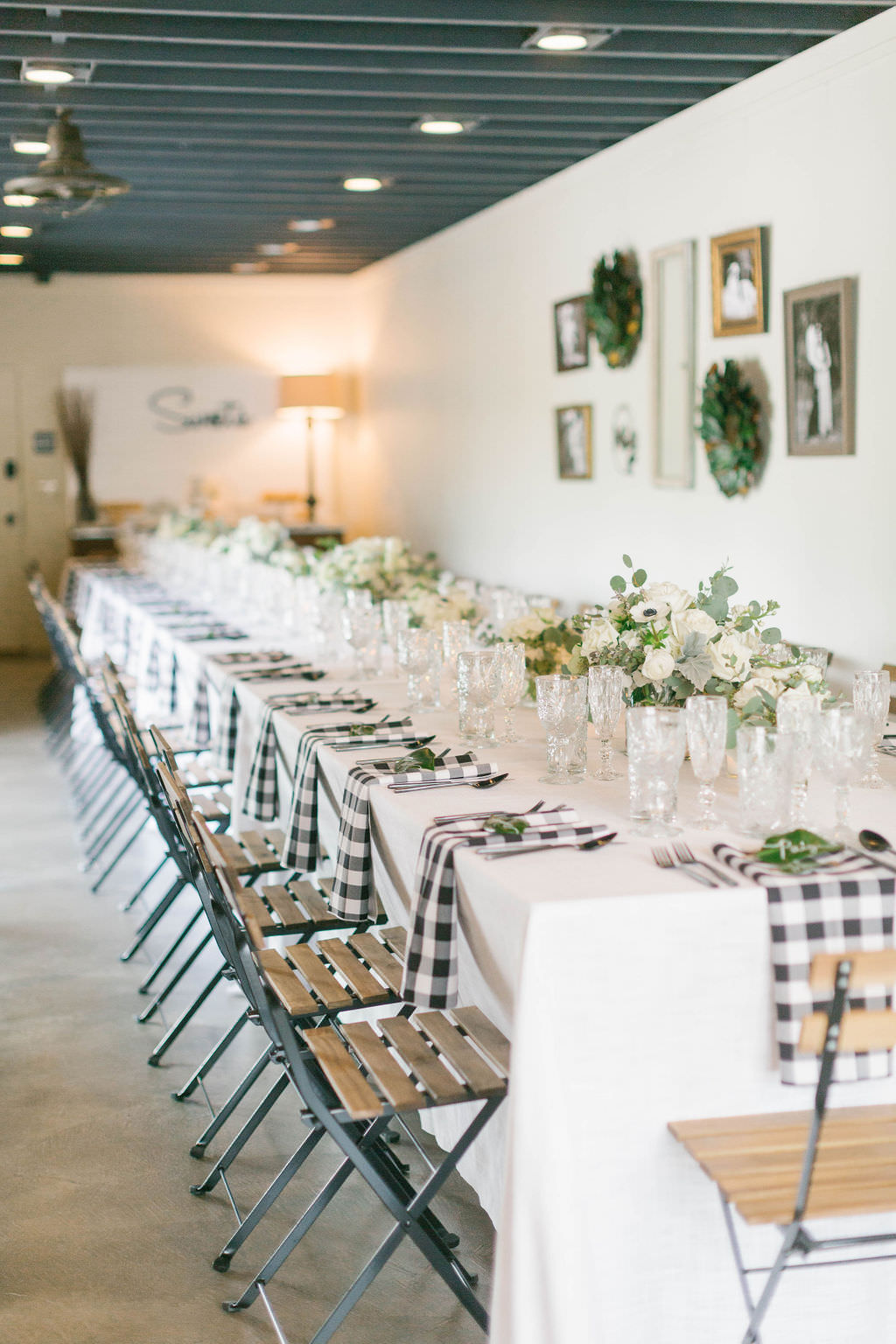 Southern Inspired Magnolia Market Bridal Shower with Buffalo Plaid Linen Accents and Rustic Decor | Bruce Wayne Florals | A Chair Affair | Over the Top Rental Linens | Parties A'La Carte Wedding and Event Planner