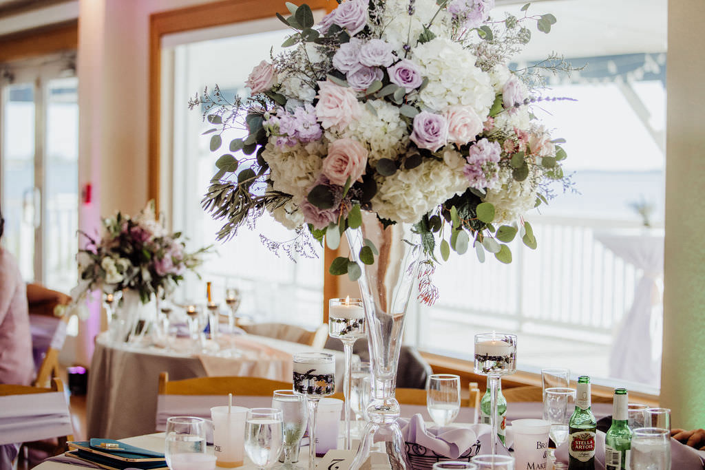 Spring Elegant Wedding Reception Decor, Tall Glass Vase with White Hydrangeas, Lilac and Blush Pink Roses, Eucalyptus, and Lavender Flowers Centerpiece, High Low Floating Candle Holders