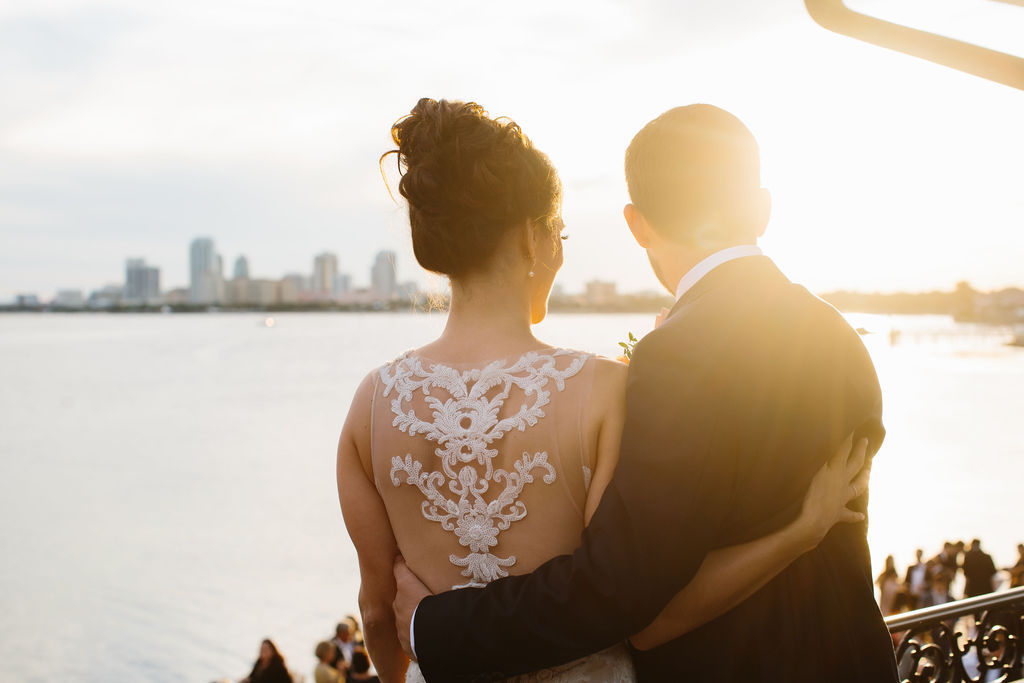 Sunset Wedding Portrait, Bride in Romantic Lace and Illusion Back Watters Wedding Dress with Updo Hairstyle | St. Petersburg Wedding Hair and Makeup Femme Akoi Beauty Studio