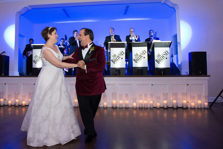 Fun Bride and Groom First Dance to Live Band Wedding Portrait | Tampa Bay Wedding Photographer Carrie Wildes Photography | Ballroom Wedding Venue The Orlo House