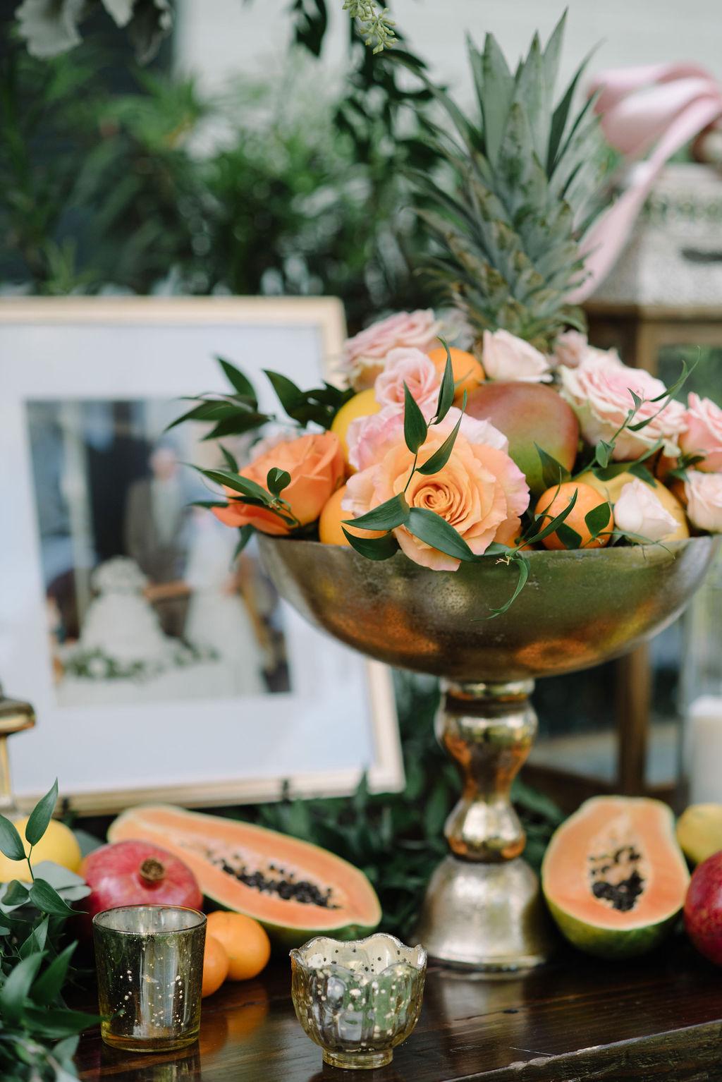 Romantic Whimsical Wedding Reception Decor, Gold Bowl with Fruit and Orange, Blush Pink Roses | St. Petersburg Wedding Rentals Gabro Event Services | Tampa Bay Wedding Florist Bruce Wayne Florals