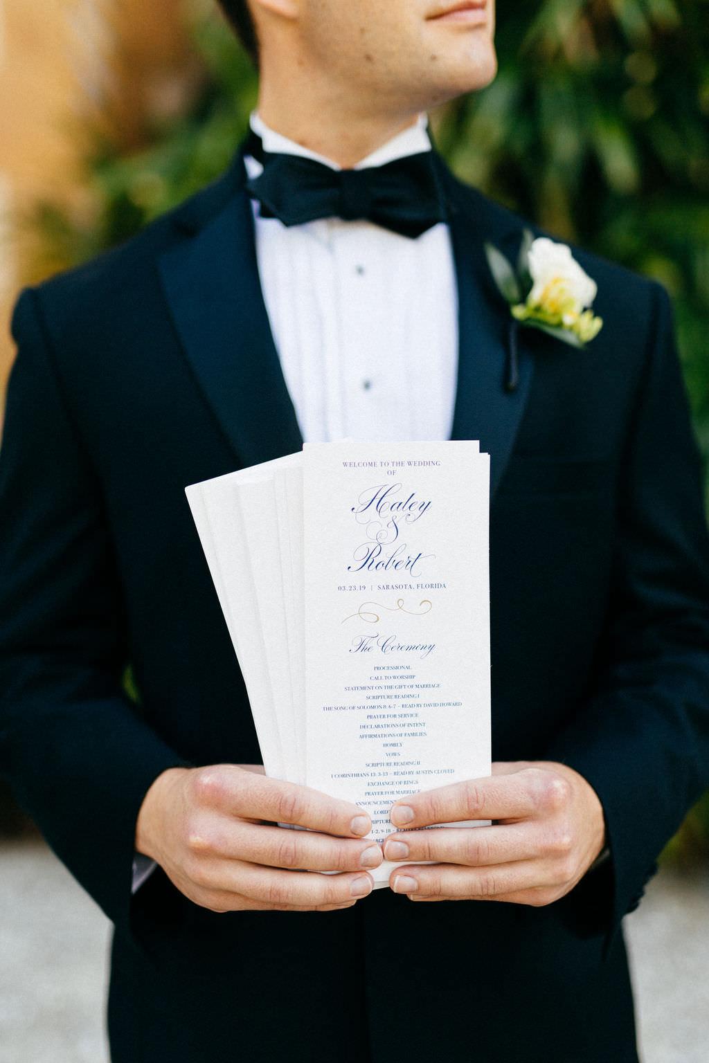 Classic Elegant Navy Blue and White Script Wedding Programs