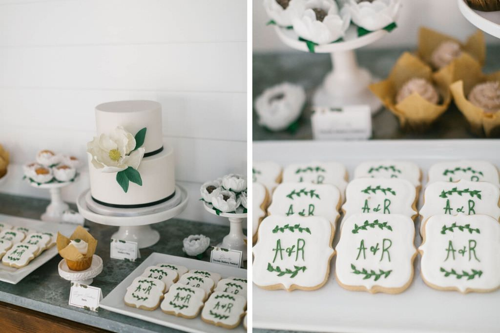 Bridal Brunch Dessert Sweets Bar with Monogram Cookies and Small Two Tiered White Cake with Sugar Flower Magnolia Decor