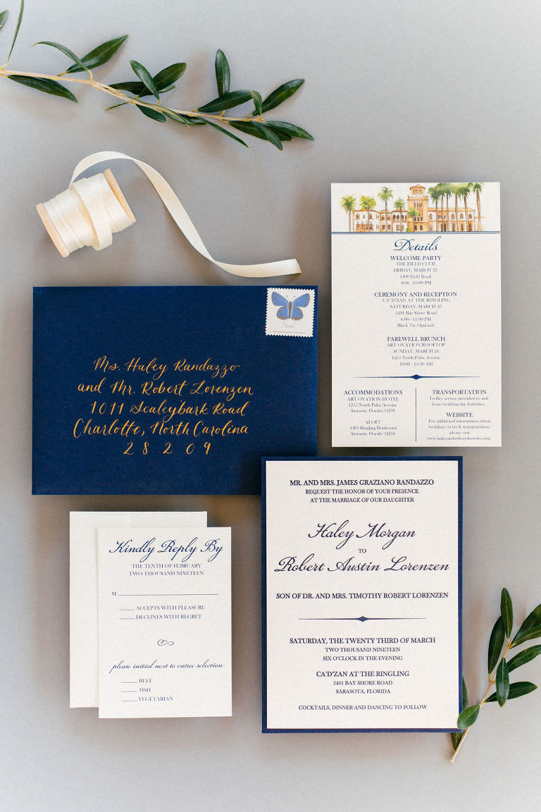 Navy Blue and White Wedding Invitation Suite