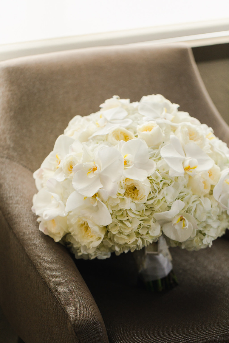 White Orchids and Hydrangeas Bridal Floral Bouquet | Tampa Bay Wedding Florist Gabro Event Services