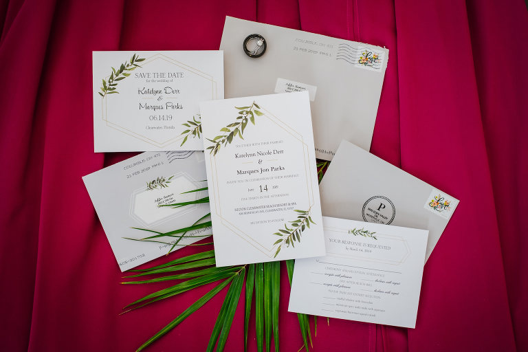 Tropical Elegant White, Greenery and Geometric Patterns Wedding Invitation Suite