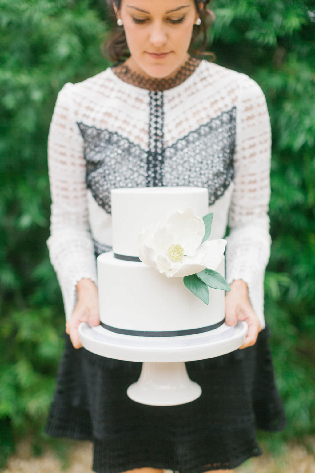 Bride to Be Portrait with Small Two Tiered White Cake with Sugar Flower Magnolia Decor