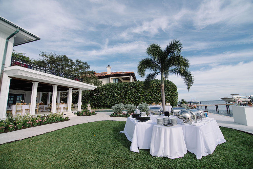 Waterfront Wedding Reception with Buffet Catering Setup